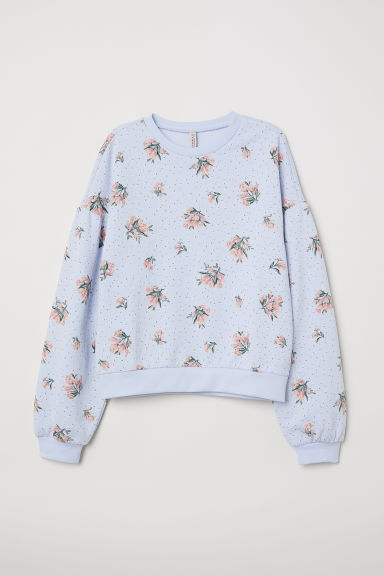 Balloon-sleeved sweatshirt - Light blue/Floral -  | H&M CN