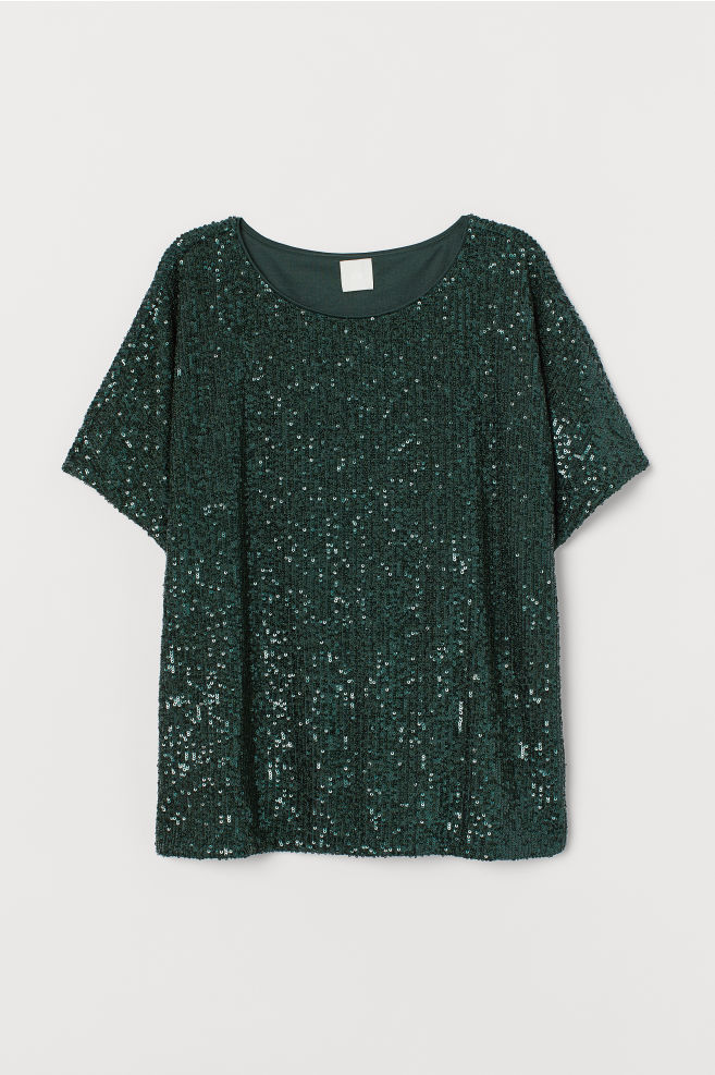 Sequined Top - Dark green - Ladies | H&M US 4