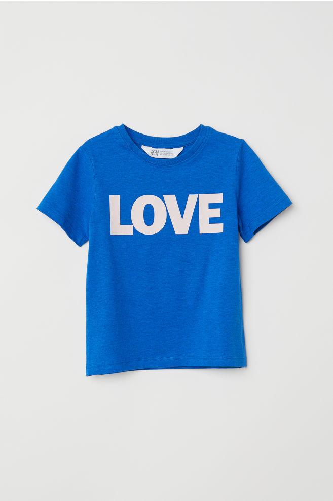 34a6a6f8 T-shirt med trykk - Klar blå/LOVE - BARN | H&M ...