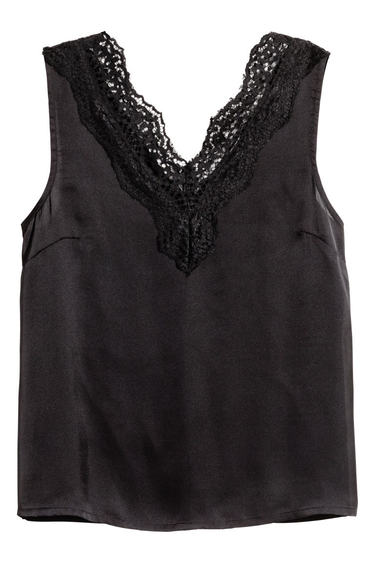 Satin top with lace - Black - Ladies | H&M