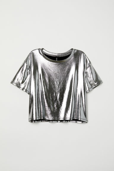 Shimmering metallic top - Silver-coloured - Ladies | H&M CN