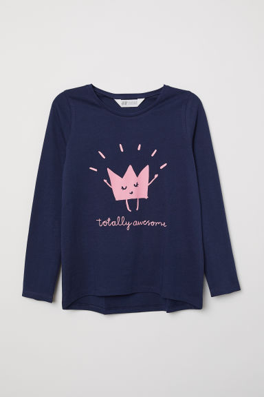 Top with a motif - Dark blue/Totally Awesome - Kids | H&M CN