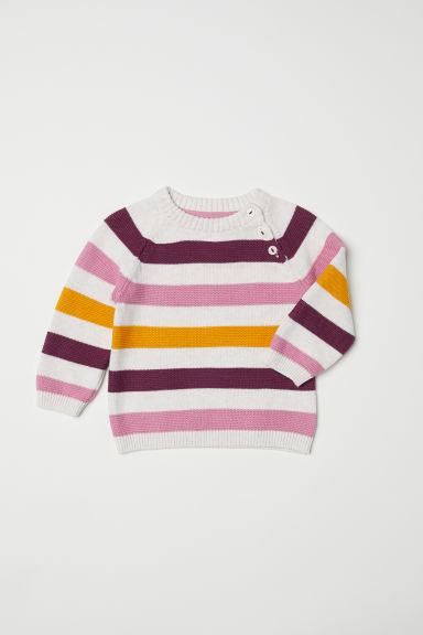 Fine-knit jumper - Light beige marl/Pink - Kids | H&M CN