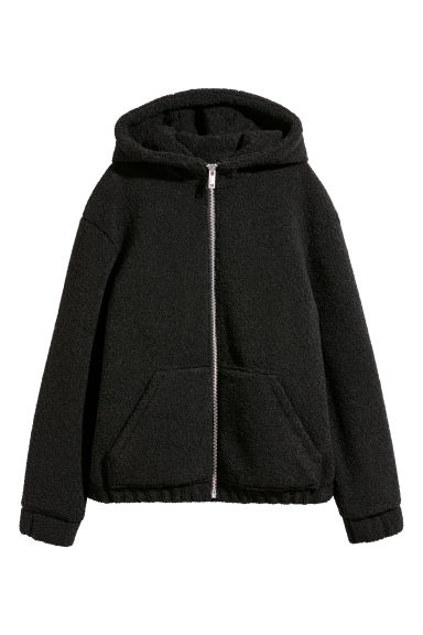 Pile hooded jacket - Black - Ladies | H&M CN