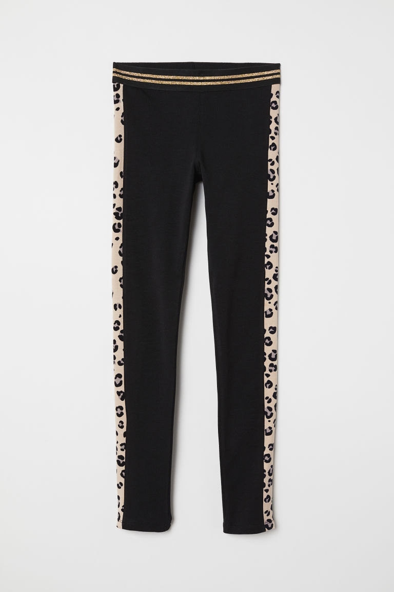 Printed jersey leggings - Black/Leopard print - Kids | H&M CN