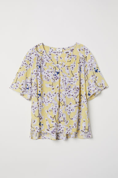 Crêpe blouse - Light yellow/Floral - Ladies | H&M