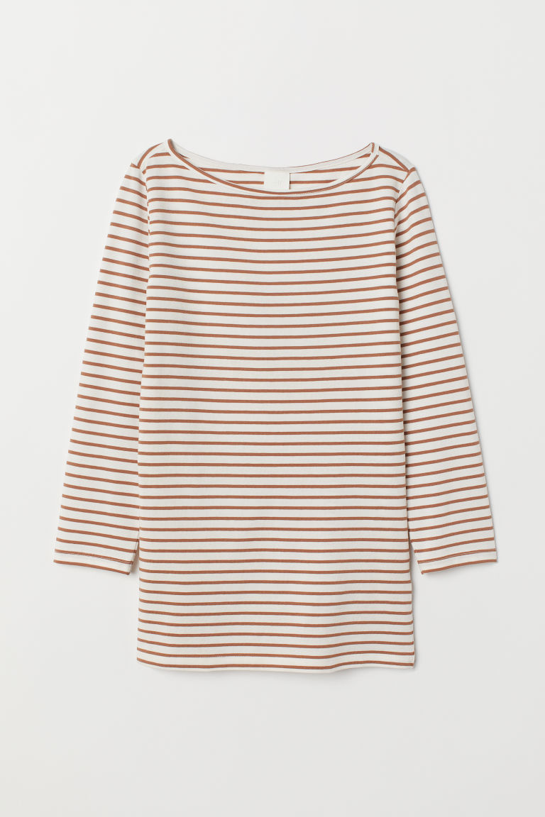 Boat-necked jersey top - White/Beige striped - Ladies | H&M