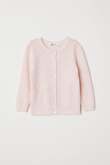 Textured-knit cotton cardigan - Light pink -  | H&M