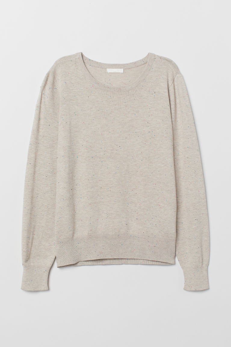 Fine-knit Sweater - Beige/nepped - Ladies | H&M US