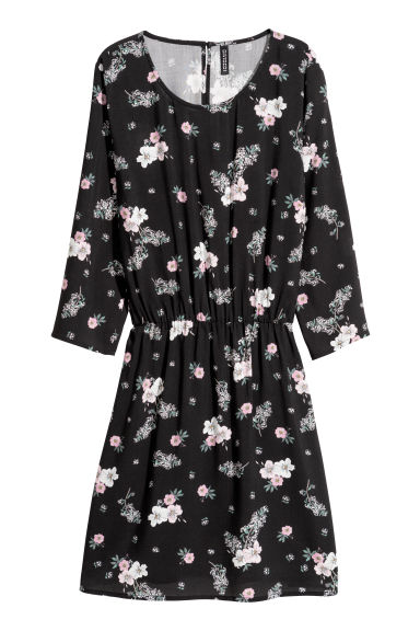 Short dress - Black/Pink floral - Ladies | H&M
