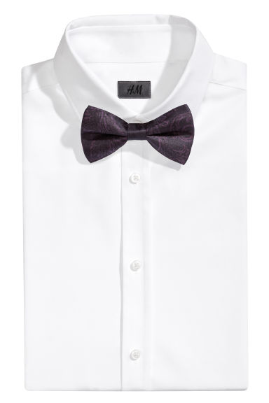 Patterned silk bow tie - Plum/Patterned -  | H&M