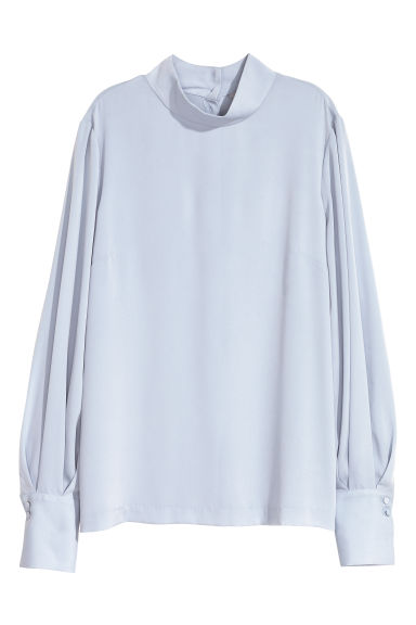 Blouse with a stand-up collar - Light blue - Ladies | H&M GB