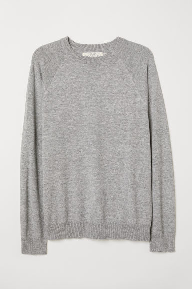 Cotton raglan-sleeved jumper - Grey marl - Men | H&M
