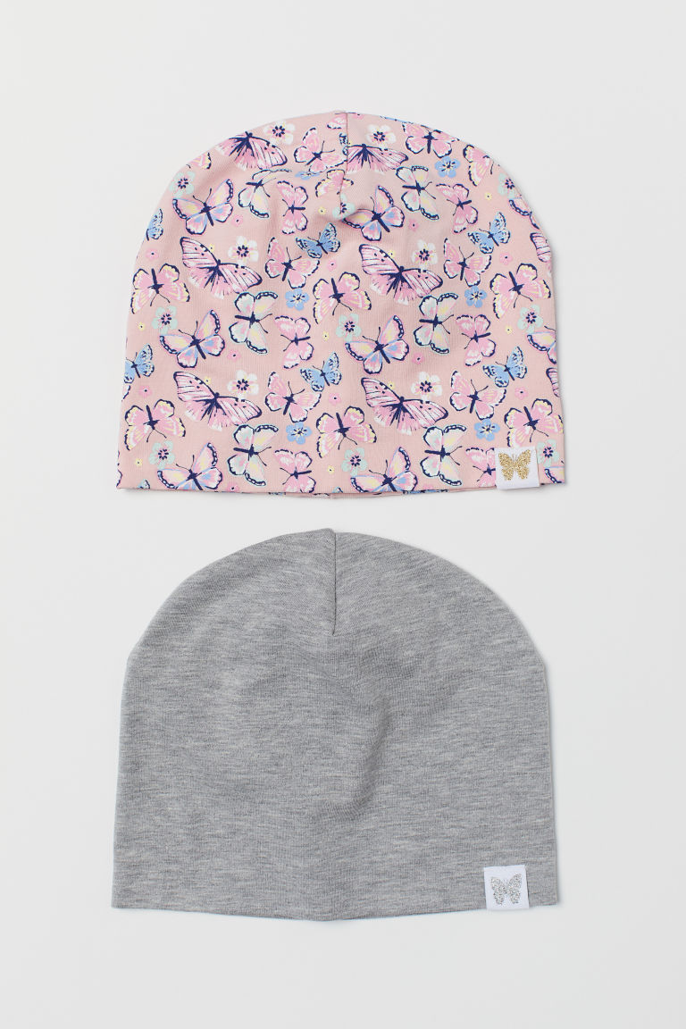 2-pack jersey hats - Pink/Butterflies - Kids | H&M