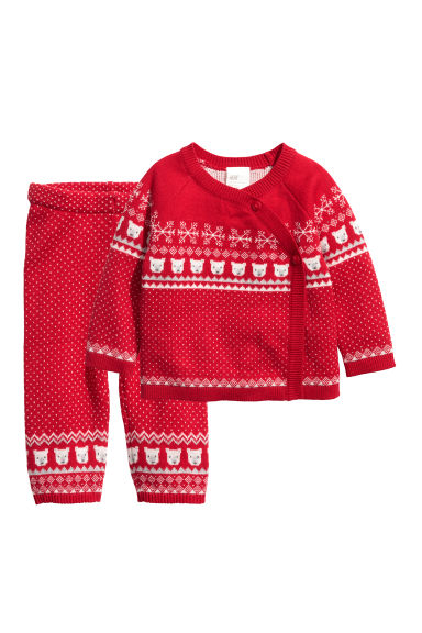 Cotton cardigan and trousers - Red/Polar bears - Kids | H&M CN