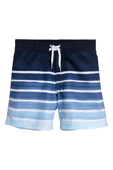 Patterned swim shorts - Blue/White striped - Kids | H&M