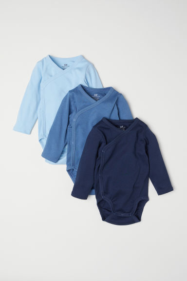 3-pack long-sleeved bodysuits - Light blue - Kids | H&M CN