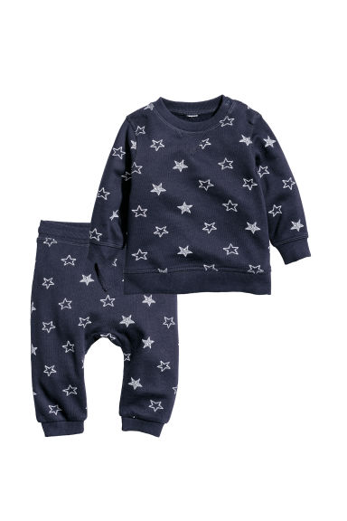 Sweatshirt and trousers - Dark blue/Stars - Kids | H&M IE