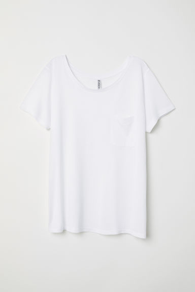 T-shirt with a chest pocket - White -  | H&M