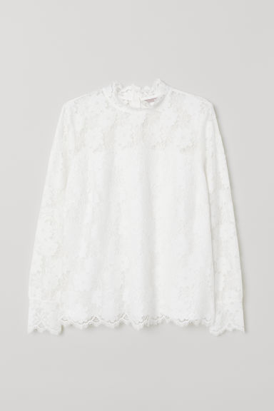 H&M+ Lace top - White - Ladies | H&M CN