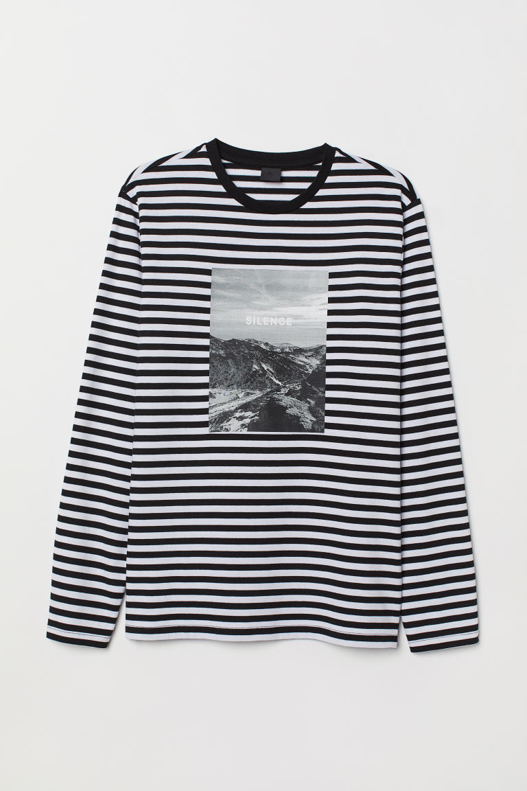 Striped top with a print motif - White/Black striped - Men | H&M GB
