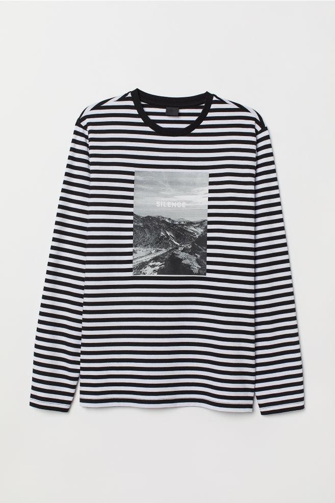22b91666 Camiseta de rayas con motivo - Blanco/Rayas negras - HOMBRE | H&M ...