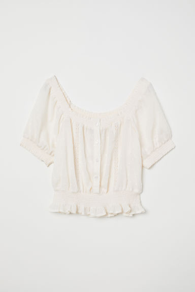 Textured blouse - Cream -  | H&M