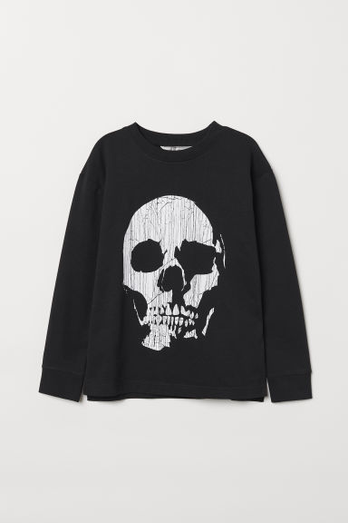 Printed sweatshirt - Black/Skull - Kids | H&M