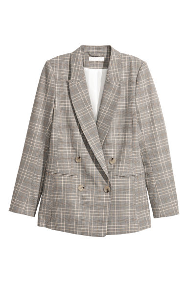 Jacket - Grey-beige/Checked -  | H&M