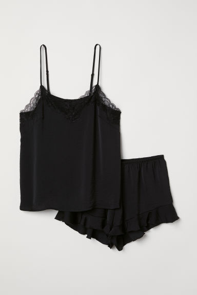 Pyjama top and shorts - Black - Ladies | H&M