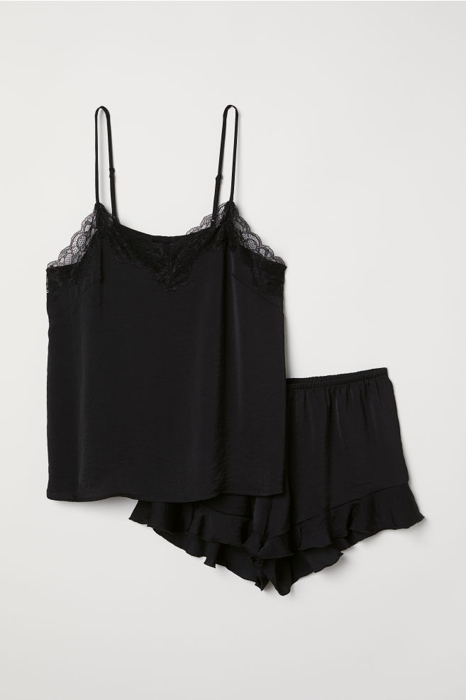Pajama Top and Shorts - Black - Ladies  89c85084e