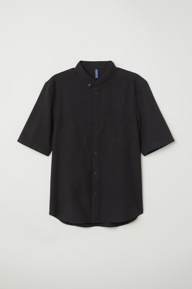 Cotton shirt Regular fit - Black - Men | H&M
