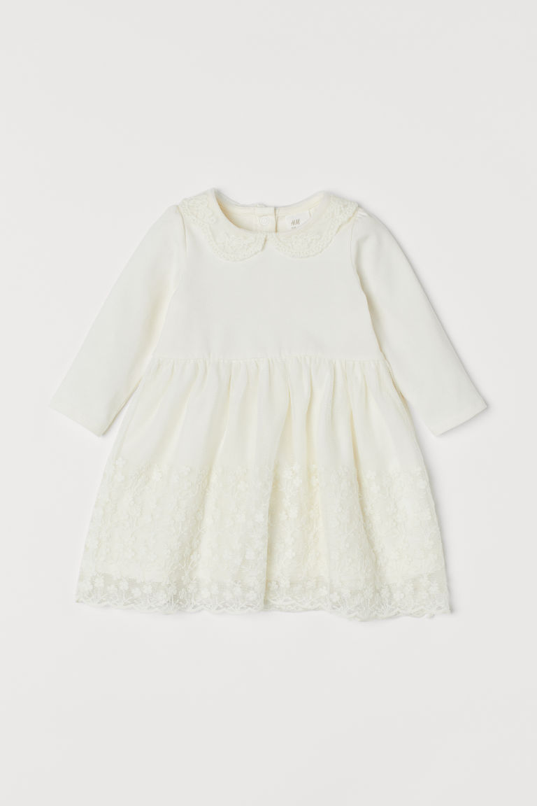 Jersey and lace dress - Natural white - Kids | H&M