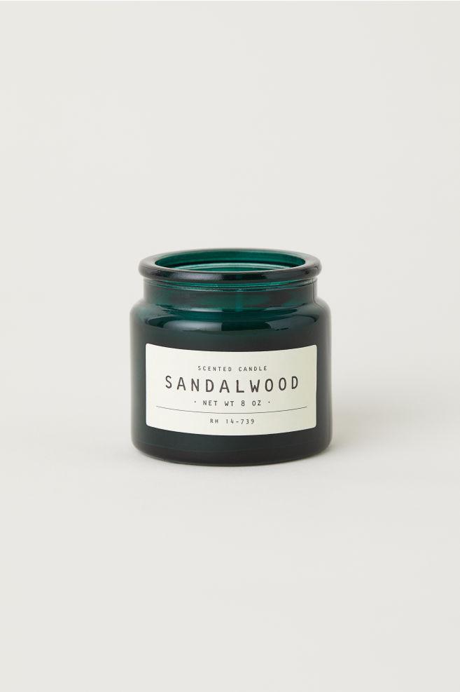 Litet doftljus i glasbehållare - Mörkgrön/Sandalwood - Home All   H&M SE 1