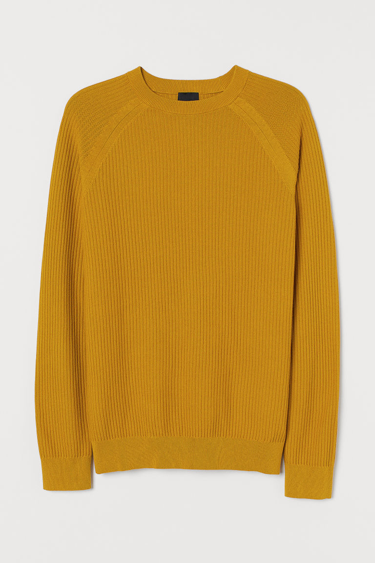 Knitted jumper Muscle Fit - Mustard yellow - Men | H&M