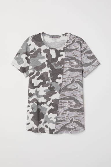 Block-patterned T-shirt - Grey/Patterned -  | H&M