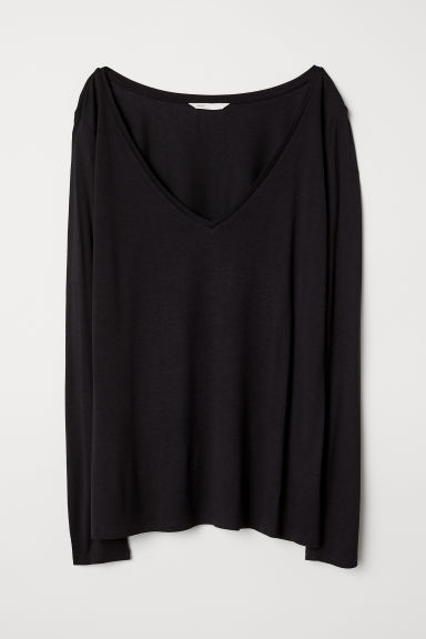 V-neck jersey top - Black - Ladies | H&M GB