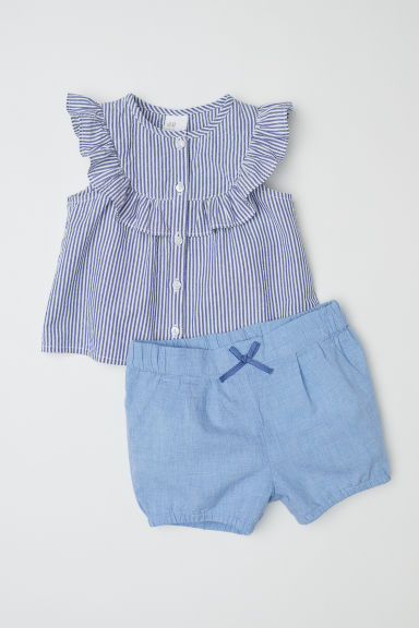 Cotton blouse and shorts - Blue/Striped - Kids | H&M