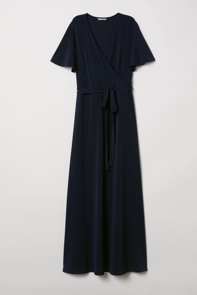 Long V-neck dress - Dark blue - Ladies | H&M