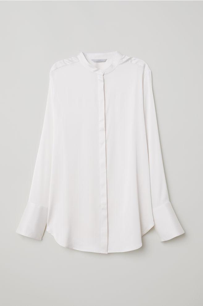 eacdf53a8a743b Satin Blouse - Cream - Ladies | H&M ...