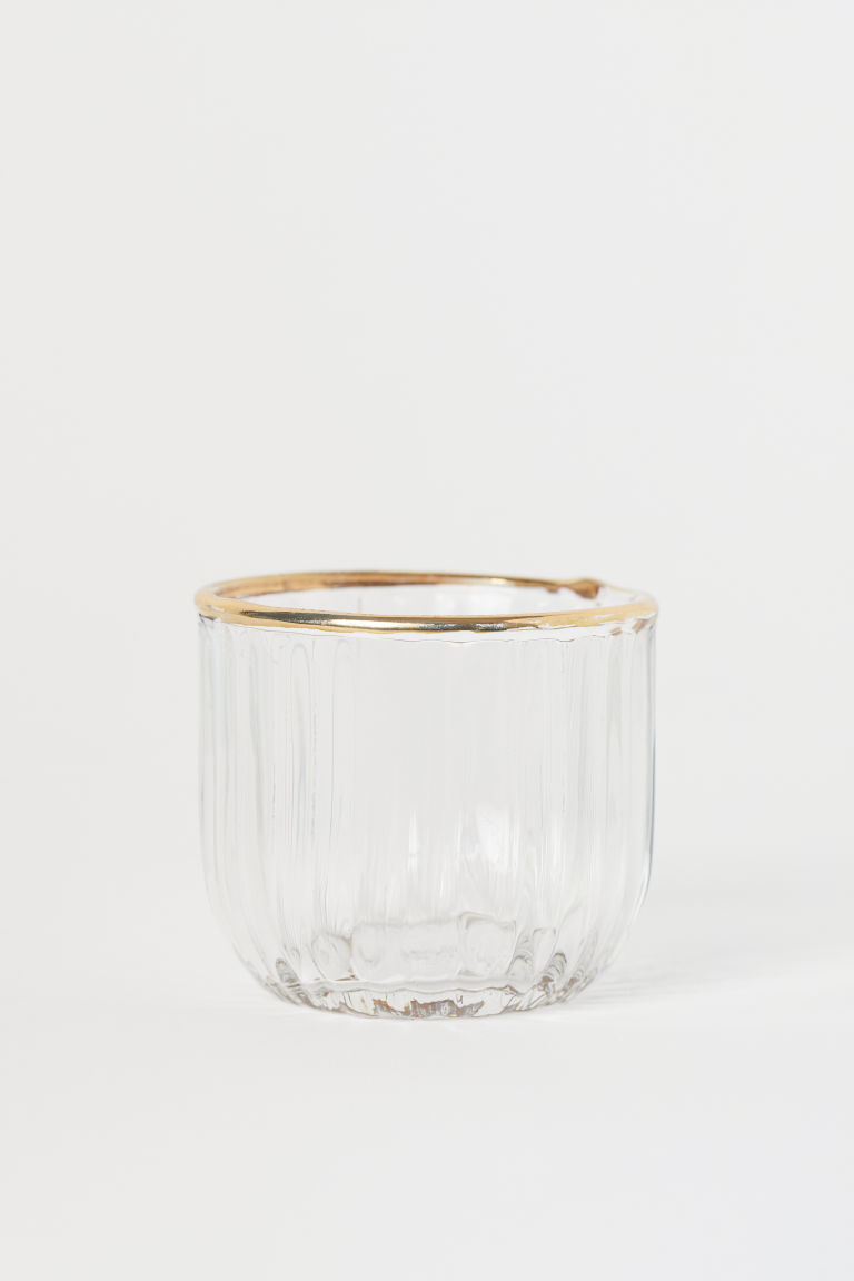 Textured tealight holder - Clear glass - Home All | H&M CN
