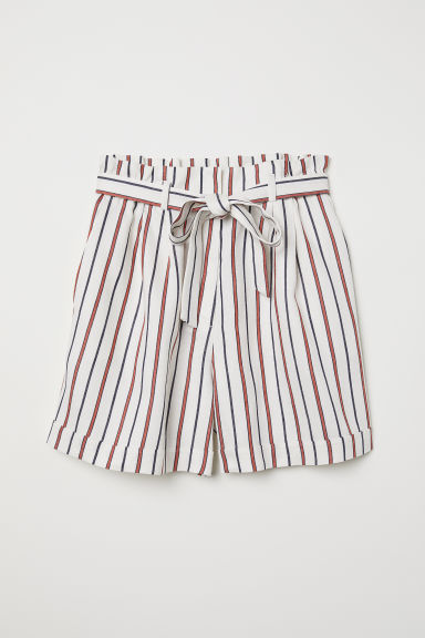 Paper bag shorts - Natural white/Striped - Ladies | H&M