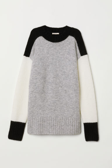 Oversized mohair-blend jumper - Black/Light grey - Ladies | H&M