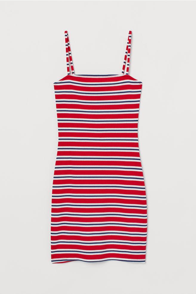 badaa0e02c910f Kurzes Kleid - Rot Blau gestreift - DAMEN