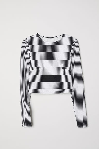 Long-sleeved swim top - White/Blue striped -  | H&M GB