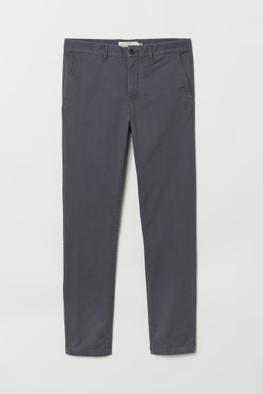 Cotton chinos Skinny fit - Grey - Men | H&M
