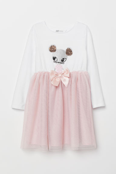 Dress with a tulle skirt - Pink/Mouse - Kids | H&M CN
