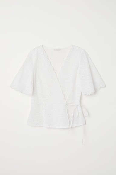 Embroidered wrapover blouse - White -  | H&M