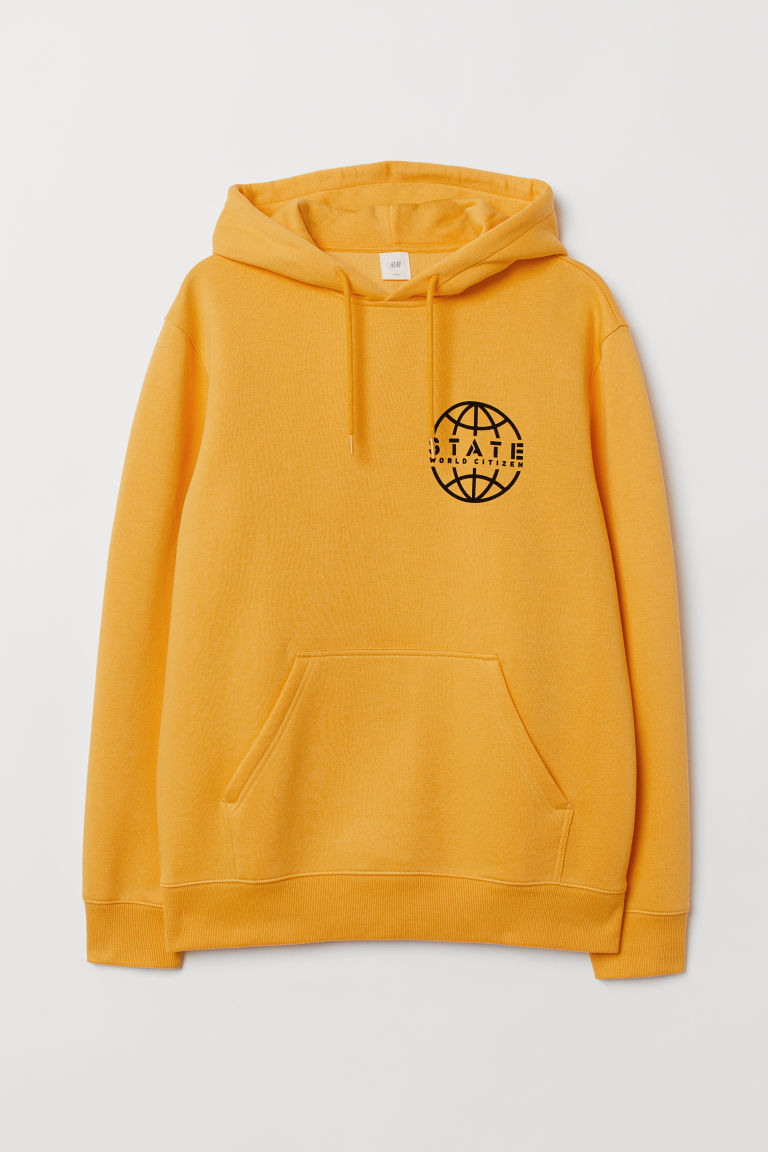 Printed hooded top - Yellow/State World - Men | H&M