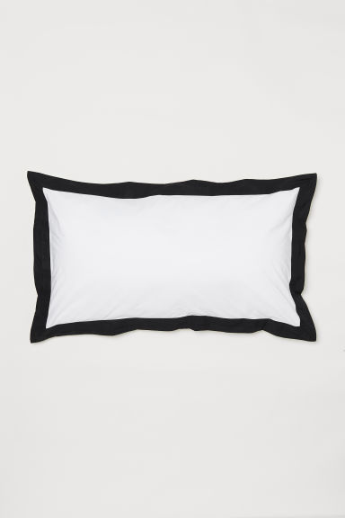 Oxford pillowcase - White/Black -  | H&M CN